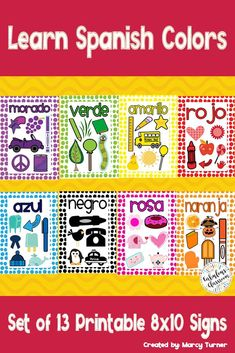 This set includes 13 different 8 x 10 signs that you can print and laminate to use during a unit on Spanish colors. In addition to 11 different individual color cards, you will receive a card with all of the colors and a card with a song to use while teaching colors (sung to the tune of Frere Jacques). Use these a million different ways!! #teachspanish #tpt #spanishcolors Spanish Lesson Plans, Spanish Lessons, Spanish Teaching Resources, Homeschooling Resources, Classroom Resources, Classroom Decor, Spanish Flashcards, Spanish Colors, Middle School Spanish