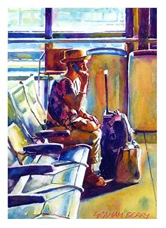 """I'm just waiting for the train by Graham Berry Watercolor ~ 14"""" x 10"""""""