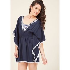 Littoral Luminary Cover-Up ($45) ❤ liked on Polyvore featuring swimwear, cover-ups, coverup, foundation, saturated, swim cover up, swim cover up kimono, cut-out swimwear, navy kimono and beach cover up