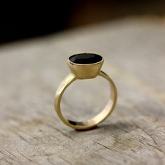 14k Gold And Black Spinel Ring, Gemstone and Recycled Gold Ring, Made To Order. $698.00, via Etsy.
