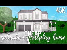 Bloxburg: Cheap Suburban Roleplay Home Two Story House Design, Tiny House Layout, House Layouts, Home Building Design, Building A House, Modern Family House, Motif Acnl, Suburban House, Modern Mansion