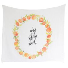 Organic Swaddle Blanket - Orange Blossoms