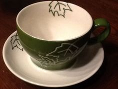 STARBUCKS 2007 10 OZ TEA CUP AND SAUCER SET Maple LEAF MUG PLATE