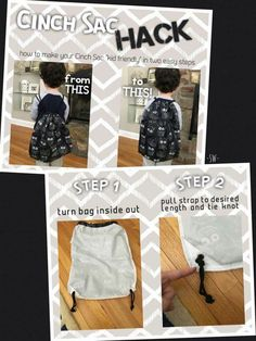 Cinch Sacs are great for young and old! It can be made more comfortable for the little ones though. For current products and patterns visit my website, http://www.mythirtyone.com/TammyAnderson.