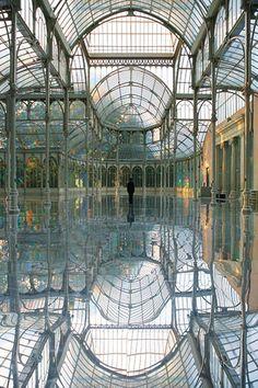 "Kimsooja, installation view of ""Respirar Una Mujer Espejo,"" 2006, at the Crystal Palace, Madrid"