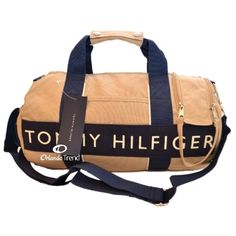 Tommy Hilfiger Beige and Navy Blue Small Duffel/Travel Bag at OrlandoTrend.com #OrlandoTrend