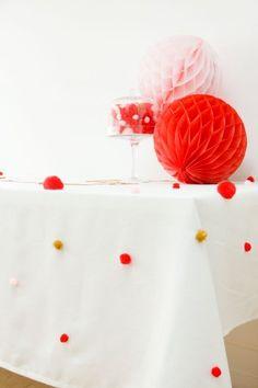 DIY pom pom tablecloth