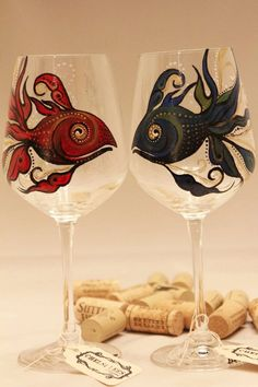 Hand painted wine gass with fish, dr.suess red fish blue fish  Chelsi Lees…