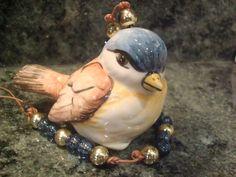 Aromatizador de pássaro em cerâmica Baixo-Esmalte pintado manualmente.