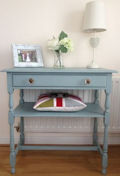 This beautiful table was painted in Autentico Vintage colour Winter Sky and finished with Autentico furniture wax. Photo Island Living
