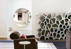 Futuristic Bookcase Design at Stylish House with Futuristic Interior Details in California