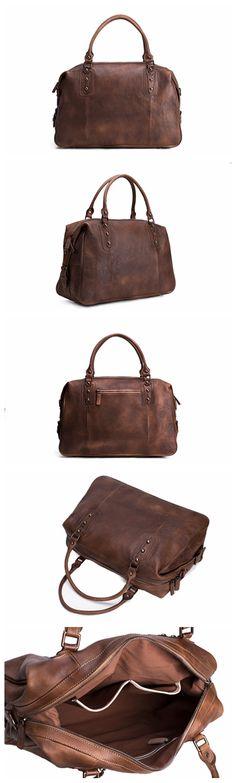 Vintage Style Vegetable Tanned Leather Travel Bag, Duffle Bag, Weekender Bag, Holdall