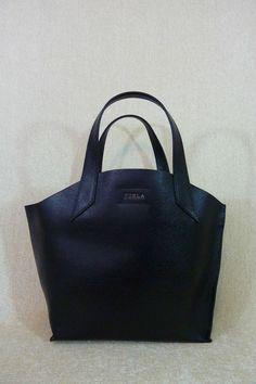 NWT FURLA Black Onyx Saffiano Leather Small Jucca Stitch Leather Tote Bag   Furla  TotesShoppers cd6e8c167a90