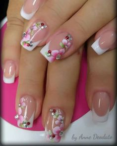 Algo nuevo French Acrylic Nails, French Manicure Nails, Cute Acrylic Nails, Pink Nail Art, Pink Nails, Flower Nail Designs, Nail Art Designs, Mickey Nails, Nagellack Design