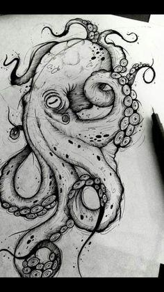 Octopus Design Octopus Tattoo Octopus black and white design sea background . - Octopus Design Octopus Tattoo Octopus Black and White Design Sea Background … – Octopus Design - Octopus Drawing, Octopus Tattoo Design, Octopus Tattoos, Octopus Art, Tattoo Designs, Octopus Sketch, Octopus Painting, Octopus Illustration, Chest Tattoo Octopus