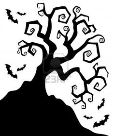 Spooky silhouette of Halloween tree  illustration  Stock Photo - 14603601. want to do it on a pumpkin, with a RIP headstone and moon. possibly attempt the 2 pumpkin stack if i can find small enough ones.