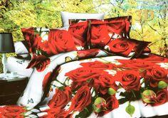 Relaistyczna biała pościel w czerwone róże