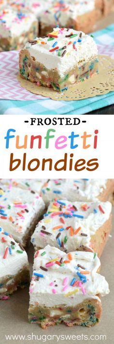 Frosted Funfetti Blondies!! Chewy blondies loaded with colorful sprinkles and topped with a creamy vanilla frosting (with more sprinkles of course)! A fun treat that can be made festive with any color sprinkle.