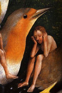 Hieronymus Bosch, Le Jardin des Délices, le Paradis imaginaire , détail Personnages sur le dos d'oiseaux