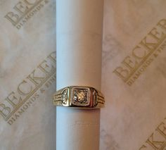 Men's Antique Deco 14k Etched design Old by BeckersJewelersCT