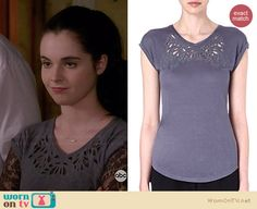 Bay's grey cutout tee on Switched at Birth.  Outfit Details: http://wornontv.net/34599/ #SwitchedatBirth