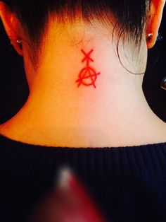 Non gender conformist, Non binary symbol with the capital A for Anarchy tattoo; soooo awesome.