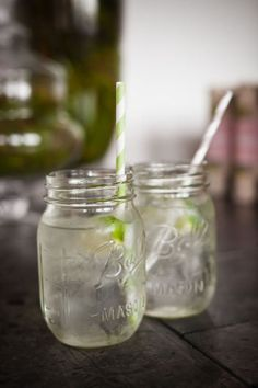 Mason Jars + Straws + Signature cocktail via Style Me Pretty | Gallery | #4766 | Page #1