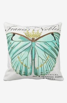 Pillow Cover Teal Springtime Mint Green Butterfly