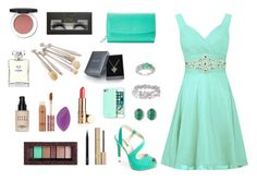 """prom outfit #3"" by zinasalaitah ❤ liked on Polyvore featuring GUESS, Malaika, Lagos, Henri Bendel, Croft & Barrow, Physicians Formula, tarte, Bobbi Brown Cosmetics, MAC Cosmetics and Stila"