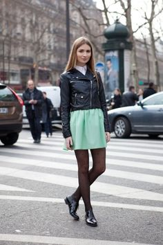 Such a chic street style look from this past Paris Fashion Week.  We love the leather jacket, paired with the mint green skirt!