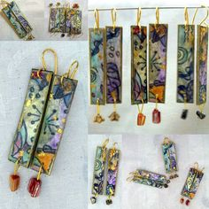 try using markers and pastels on white/ecru Paper Bead Jewelry, Paper Earrings, Ceramic Jewelry, Paper Beads, Fabric Jewelry, Polymer Clay Canes, Polymer Clay Projects, Polymer Clay Creations, Polymer Clay Earrings