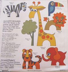 Vintage Animal Applique Pattern 1960s Zoo Safari by MoonParade