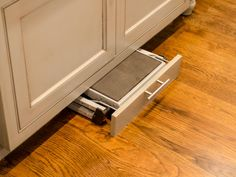 Hidden step stool to access higher cabinets.   Kitchen Layout Design Ideas | DIY Kitchen Design Ideas - Kitchen Cabinets, Islands, Backsplashes | DIY