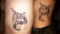 #tattoomatch #coupletattoo #wolftattoo