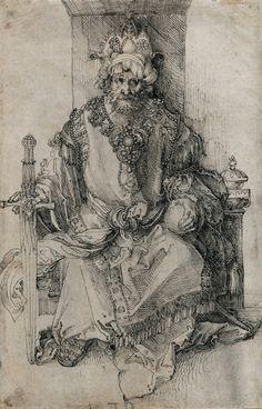 aetherum:    ALBRECHT DÜRER An Oriental Ruler Seated on His Throne, 1495