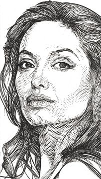 Wall Street Journal portrait (hedcut) of Angelina Jolie