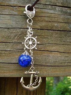 love deep blue anchor keychain