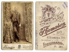 Charles Oldfield, Antique cabinet card, Thomason Studio, Lousiana, Missouri, late 19th century