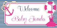 Pink Nautical Baby Shower Welcome Banner Printable DIY via Etsy