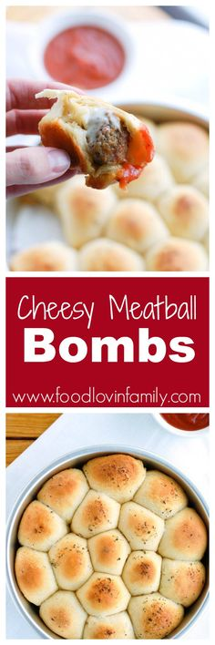 Cheesy Meatball Bombs make the perfect snack or meal. Cheese and meatballs rolled up into a biscuit and topped with garlic butter. These meatball biscuit bombs are so easy and so good!| http://www.foodlovinfamily.com/cheesy-meatball-bombs/