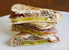 Cuban Sandwich Quesadilla -  My reduced fat version has all the flavors of a Cuban without the added fat.