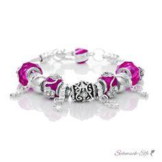 Armband Charms & Beads pink  KLEEBLATT  im Organza Beutel
