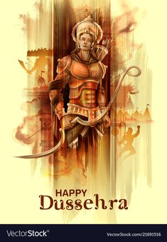 Lord rama in navratri festival of india poster for vector image on VectorStock Festivals Of India, Indian Festivals, Dasara Wishes, Happy Dussehra Wallpapers, Shri Ram Wallpaper, Hanuman Ji Wallpapers, Dussehra Images, Happy Dussehra Wishes, Lord Rama Images