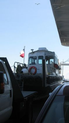I live in a small coastal community in Texas.  Crystal Beach on the Bolivar Peninsula has two outlets, the highway or the ferry. I work in Galveston and the surrounding bayside cities so I prefer the ferry.  It is a twice daily adventure in my beach life.  www.bohemianbeachjunque.blogspot.com