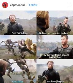 "Idk what's funnier. Thor introducing Groot at ""Tree"" or Steve introducing himself"
