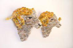 Shawn Smiths Pixel Sculptures wood sculpture multiples