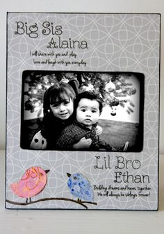 big sis lil bro picture frame modern grey and birdies personalized gift keepsake children nursery baby brother sister
