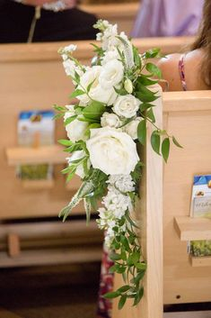 Wedding aisle decor, all white floral and lush greenery for every pew going down the ceremony aisle Church Wedding Decorations Aisle, Wedding Pews, Church Wedding Ceremony, Wedding Ceremony Flowers, Floral Wedding, Church Pew Flowers, Aisle Flowers, Church Pews, White Flower Arrangements