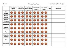 Daily Behavior Incentive Chart Basketball Theme