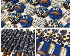 Cookie Monster Assortment - Oreos, Pretzels and Chocolate Number Lollys 1st Birthday Party Themes, Birthday Cookies, 1st Boy Birthday, Birthday Ideas, Monster Treats, Elmo And Cookie Monster, Cookie Monster Cupcakes, Shortbread Cake, Monster Baby Showers